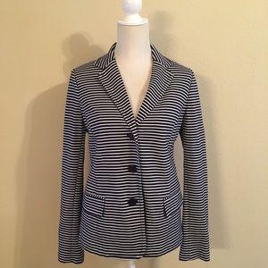 Talbots Navy Blue White Striped Cotton Blazer